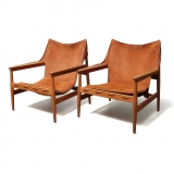 Hans Olsen, A rare pair of sling armchairs